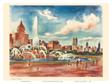 Chicago Skyline - Buckingham Fountain - United Air Lines Calendar Page Posters by Joseph Fehér