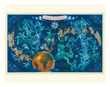 Zodiac Constellations - Star Planisphere Giclée-tryk af Lucien Boucher