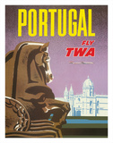 Portugal - Fly TWA (Trans World Airlines) - Jerónimos Monastery Lisbon Giclee Print by David Klein