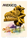 Mexico - Kukulkan, Feathered Serpent - Mayan Snake Diety Posters by Howard Koslow