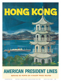 Hong Kong - Fragrant Harbour - American President Lines Art by  Pacifica Island Art