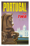 Portugal - Fly TWA (Trans World Airlines) - Jerónimos Monastery Lisbon Poster by David Klein
