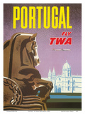 Portugal - Fly TWA (Trans World Airlines) - Jerónimos Monastery Lisbon Prints by David Klein