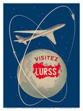 Visit the U.S.S.R. (Visitez L'URSS) - Soviet Sputnik Satellites - Russian Antonov Aircraft Posters by Anatoliy Antonchenko