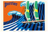 Perrier - The Sailboat - Hokusai The Great Wave Arte por Bernard Villemot