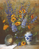 Delphiniums and Chinese Vase Giclee Print by Frank Janca