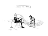 "TITLE: Panning For SenseMan speaks while person ""pans"" for sense in what ... - New Yorker Cartoon Premium Giclee Print by Will McPhail"