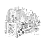 Construction workers repot plants after backing into Mrs. Beverly Seidel's... - New Yorker Cartoon Giclee Print by David Borchart