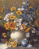 Sunflowers and Daisies Giclee Print by Frank Janca