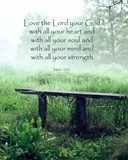 Mark 12:30 Love the Lord Your God (Bench) Plakat af  Inspire Me