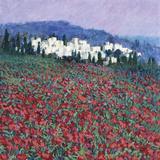 Hilltown in Tuscany Giclee Print by Hazel Barker