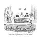 """Welcome to tonight's panel on interfaith humor."" - New Yorker Cartoon Premium Giclee Print by Trevor Spaulding"