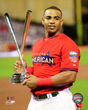 Yoenis Cespedes with the 2014 Home Run Derby Champion Trophy Photo