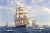 'Challenge' leaving New York in the 1850s Giclee Print by Roy Cross