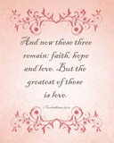 1 Corinthians 13:13 Faith, Hope and Love (Pink) Prints by  Inspire Me