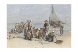 Fishwives on the Beach at Scheveningen, by Bernardus Johannes Blommers, C. 1880-85 Giclee Print by Bernardus Johannes Blommers