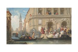 Masqueraders Boarding Gondolas at Venetian Palazzo, 1869 Giclee Print by Eugene Louis Lami