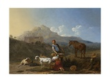 Italian Landscape with Girl Milking a Goat, 1652 Giclee Print by Karel Dujardin