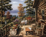 Log Cabin Porch Art by Sung Kim