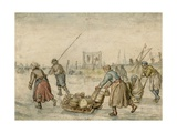 Country Leaders with Sled on the Ice, C. 1600-34 Giclee Print by Hendrick Avercamp