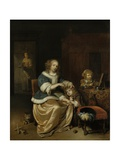 Interior with a Mother Combing Her Child's Hair, 1669 Giclee Print by Caspar Netscher