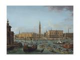 Procession of Gondolas in Bacino Di San Marco, Venice, 1742-60 Giclée-tryk af Antonio Joli