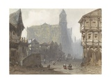 Old Marketplace in Rouen, Ca. 1810-40 Giclee Print by Pierre Luc Charles Ciceri