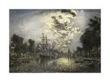 Rotterdam Moonlight, 1881, Impressionist Giclee Print by Johan Barthold Jongkind