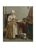 Interior with Woman Sewing, 1800-10 Giclee Print by Wybrand Hendriks