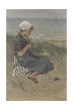 Girl Knitting in the Dunes, by Bernardus Johannes Blommers, C. 1890-1920, Watercolor Painting Giclee Print by Bernardus Johannes Blommers