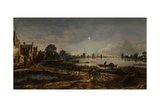 River View by Moonlight, 1640-50 Giclee Print by Aert van der Neer