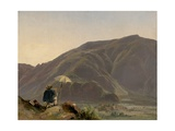 View of Bozen with a Painter, 1837 Giclee Print by Jules Coignet