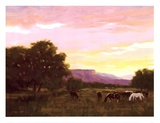 Grazing Below The Mesa Art by Roger Williams