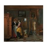 Interior with Women Beside a Linen Cupboard, 1663 Giclee Print by Pieter de Hooch