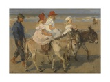 Donkey Rides on the Beach, C. 1890-1901. Dutch Watercolor Painting Giclée-tryk af Isaac Israels