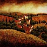 Tuscan Hillside Village Prints by Santo Devita