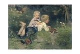 The Butterflies, 1871 Giclee Print by August Allebe