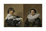 Marriage Portraits of Nicolaes Hasselaer and His Wife, 1635 Giclee Print by Frans Hals
