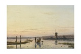 Windmill Beside a Frozen River, 1860-62 Giclee Print by Andreas Schelfhout