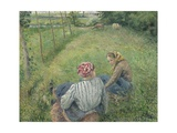 Young Peasant Girls Resting in the Fields Near Pontoise, 1882 Reproduction procédé giclée par Camille Pissarro