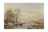 A Frozen Canal Near the River Maas, 1867 Giclee Print by Andreas Schelfhout