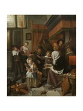 The Feast of St. Nicholas, 1665-68 Giclee Print by Jan Steen