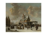 The Paalhuis and Nieuwe Brug, Amsterdam, in Winter, 1640-66 Giclee Print by Jan Beerstraten