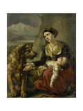 A Saint Bernard Dog Comes to the Aid of a Lost Woman with a Sick Child, 1827 Giclee Print by Charles Picque