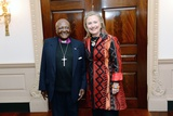 Secretary of State Hillary Rodham Clinton Meets with Archbishop Desmond Tutu Photo