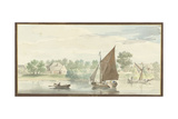 Sailing Ship on Lower Merwede in the Papendrechtse Dike, 1729 Giclee Print by Aert Schouman