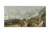 Whale-Oil Refinery Near Village of Smerenburg, 1639 Giclee Print by Cornelis de Man