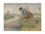 A Fisherman Hauling in Net, 1595-1634 Giclee Print by Hendrick Avercamp