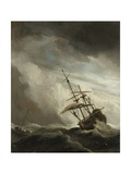 Ship on the High Seas Caught by a Squall, (The Gust), C. 1680 Giclee Print by Willem van de Velde