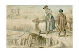 Winter Scene: Woman and Boy on a Small Bridge, 1595-1634 Giclee Print by Hendrick Avercamp
